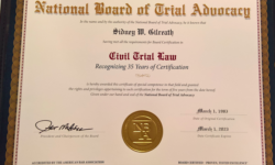 Attorney Sid Gilreath Receives Recertification as a Civil Trial Specialist